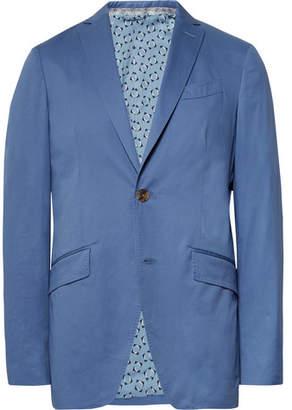 Etro Blue Slim-Fit Stretch-Cotton Suit Jacket