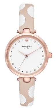 Kate Spade Three-Hand Holland Pink IP and Dotted Leather Strap Watch