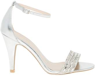Le Château Women's Embellished Leather-Like Ankle Strap Sandal