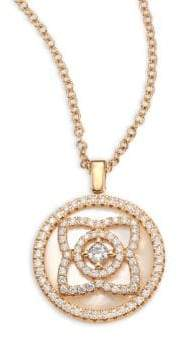 De Beers Enchanted Lotus Reversible Diamond& Mother-Of-Pearl Pendant Necklace - Rose Gold