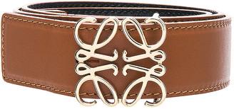 Loewe Anagram Belt in Tan, Black & Gold | FWRD