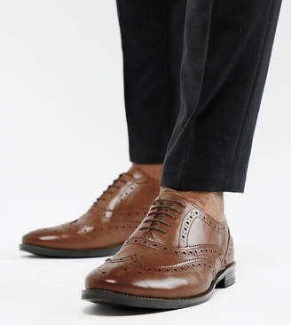 Asos Design DESIGN Wide Fit oxford brogue shoes in tan leather