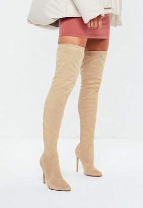 Missguided Nude Pointed Over The Knee Faux Suede Boots
