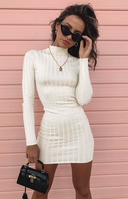 Beginning Boutique Suzie Ribbed Fitted Dress Ivory