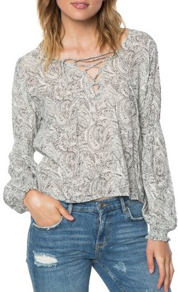Women's O'Neill Claudine Print Lace-Up Top $48 thestylecure.com