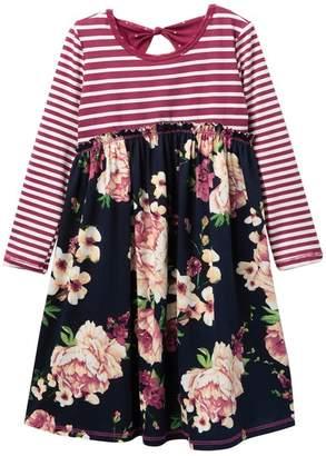 Pink Vanilla Long Sleeve Stripe & Flower Bow Back Dress (Toddler & Little Girls)