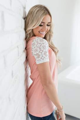 Ampersand Avenue Lace Sleeve Tee - Coral
