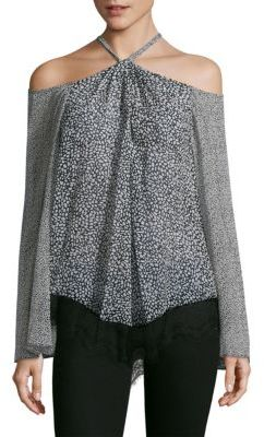 Derek Lam 10 Crosby Cold Shoulder Halter Laced Silk Blouse $395 thestylecure.com