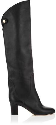 Jimmy Choo MINERVA 65 Black Smooth Leather Pull On Boots