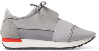 Balenciaga Race Runner Leather, Suede And Neoprene Sneakers - Gray