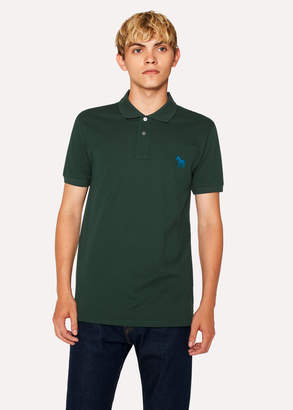 Paul Smith Men's Slim-Fit Green Embroidered 'Zebra' Polo Shirt