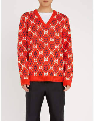 Gucci GG-intarsia cotton and wool-blend jumper