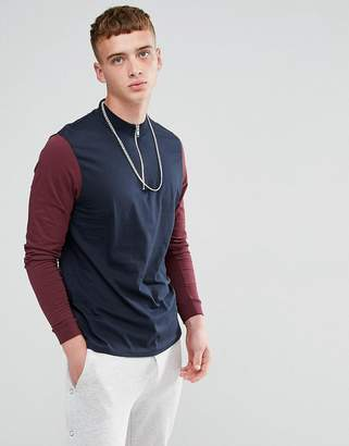 Asos DESIGN Relaxed Contrast Long Sleeve T-Shirt with Zip Turtleneck
