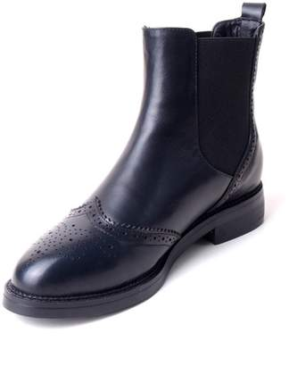 Nine Seven Genuine Leather Womens Round Toe Flat Heel Handmade Ankle Boot (8, )