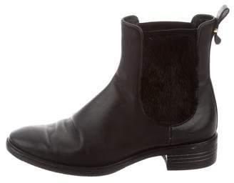 Salvatore Ferragamo Mink Fur-Trimmed Chelsea Boots