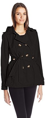 Madden Girl Women's Double Breasted Medium Length Hooded Trench Coat $29.76 thestylecure.com