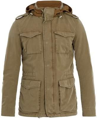 Herno Self-stowing hood cotton-blend field jacket