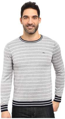 Lacoste Long Sleeve Double Face Chine Stripe Crew Neck Sweater Men's Sweater