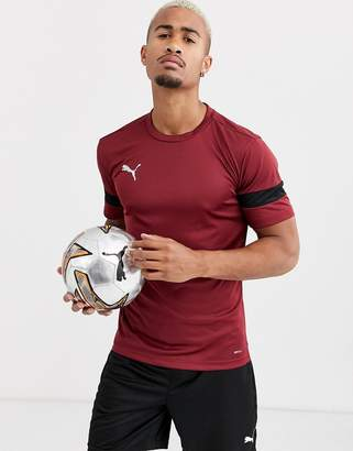 Puma Football short sleeve t-shirt in burgundy with black panels exclusive to ASOS