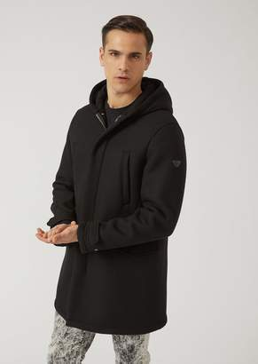 Emporio Armani Hooded Cloth Parka With Lined Inner