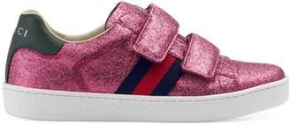 Gucci Children's glitter sneaker with Web