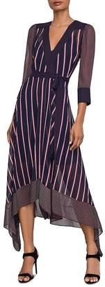 BCBGMAXAZRIA Mixed-Stripe Wrap Dress