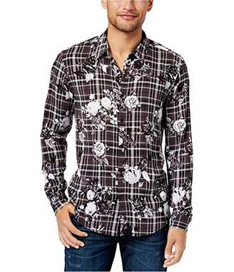 GUESS Men's Long Sleeve Mosh Floral Plaid Shirt