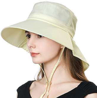 BEIGE Jeff & Aimy Summer Womens UPF 50 Sun Hats for Ladies Wide Brim Gardening Sunhat Packable with Neck Flap Chin Strap Adjustable