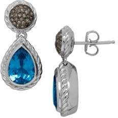 Lord & Taylor Blue Topaz, Brown Diamond and Sterling Silver Drop Earrings
