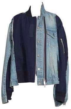 Sacai Denim& Uncut Velvet Jacket