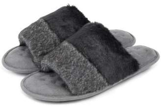 b03f883d8 Isotoner Ladies Faux Fur Open Toe Slippers