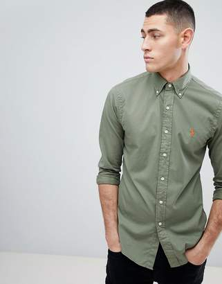Polo Ralph Lauren Slim Fit Garment Dyed Shirt Polo Player in Green