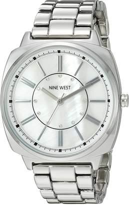 Nine West Women's NW/1735WMSB Swarovski Crystal Accented -Tone Bracelet Watch