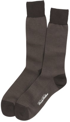 Brooks Brothers Cotton Bird's Eye Crew Socks