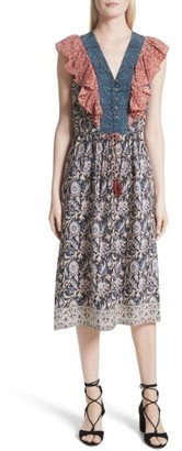 Women's Sea Mixed Print Silk Flutter Dress $435 thestylecure.com