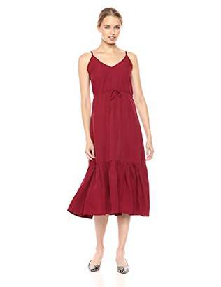 Le Mou Women's Sleeveless Waist Tie Up Midi Length Feminine Dress M
