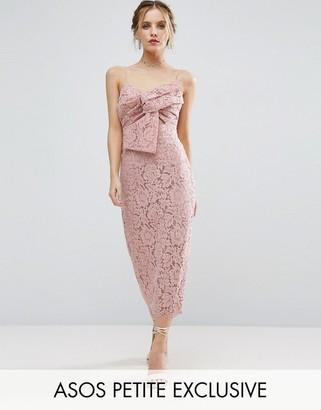 ASOS Petite ASOS PETITE Lace Cami Bow Front Midi Pencil Dress $106 thestylecure.com