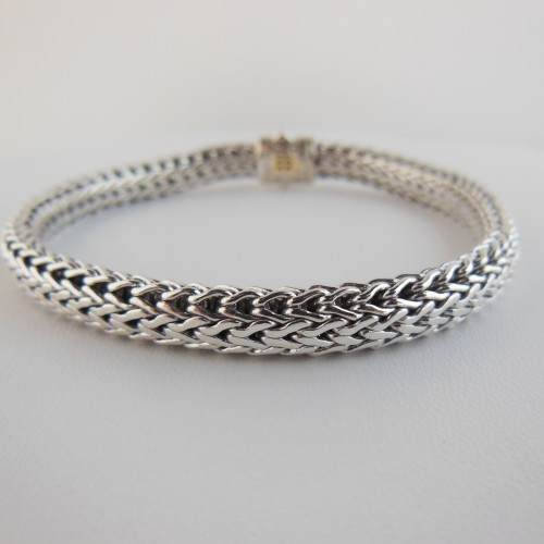 John Hardy excellent (EX Sterling Silver 18K Gold .30tcw Medium Classic Chain Pave Diamond Bracelet