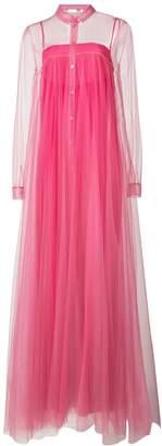 Vionnet long pleated sheer dress