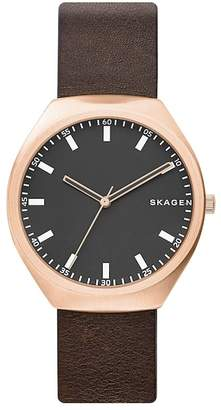 Skagen Men's Greenen Leather Strap Watch, 40mm