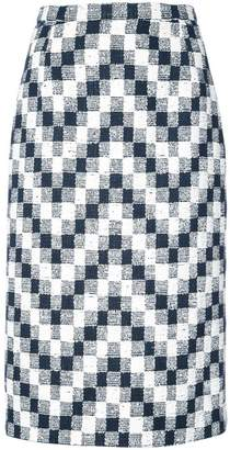 Oscar de la Renta chevron checked pattern pencil skirt