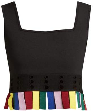 Staud - Paradise Cut Out Fringed Crop Top - Womens - Black Multi