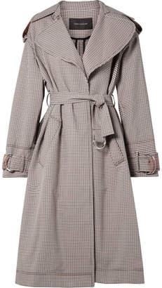 Cédric Charlier Oversized Paneled Plaid Cotton-blend Gabardine Trench Coat - Gray