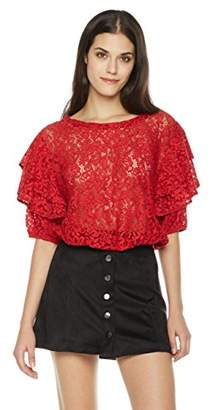 Painted Heart Women's Tie Half Sleeve Scoop Neck Lace Blouse X Large