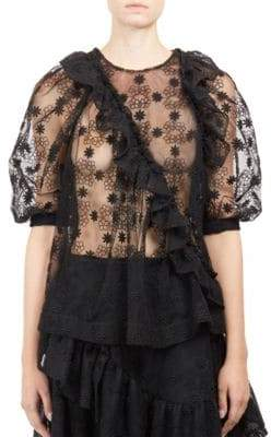 Simone Rocha Short Sleeve Embroidered Blouse