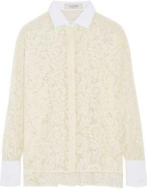 Valentino Cotton-Trimmed Giupure Lace Blouse
