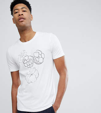 Selected TALL T-Shirt With Floral Drawing
