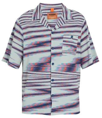 Missoni Striped Camp Collar Fine Knit Cotton Shirt - Mens - Blue Multi