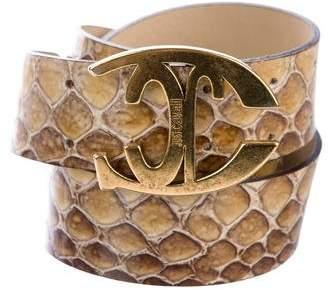 Just Cavalli Embossed Patent Leather Belt