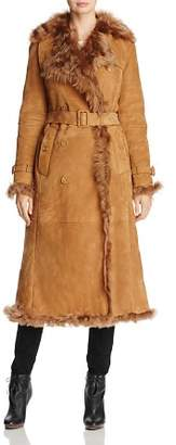 Burberry Tolladine Long Shearling Trench Coat